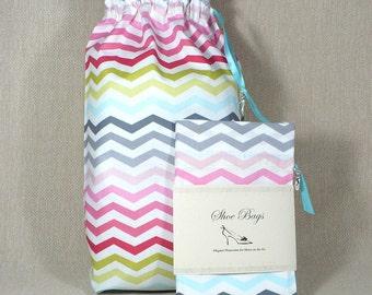Shoe Bags, Chevron, Multi-color, Travel, drawstring bags, set of 2