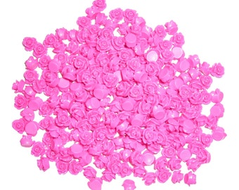 Hot Pink Rose Flat Back Cabochons 7.5mm (pack of 50)