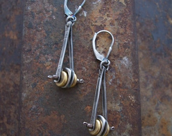 Pendulum, Industrial Earrings, Modern Mixed Metal Earrings,Steampunk Earrings.