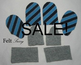 SALE - Wool Sweater Mitten Kit - Children Size DIY - Fully Lined #119