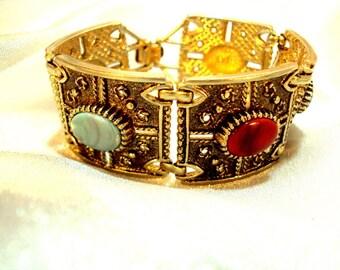 Wide Ornate Cabochon Link Vintage Bracelet
