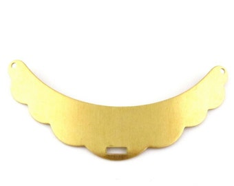 2 - Raw Brass Scalloped Edge Stampings Pendants Connectors for Collar or Bib Necklaces