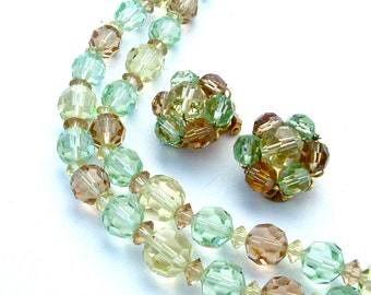 Signed MARVELLA Bracelet Earrings Mint Green Pastel Topaz Crystal Jewelry Set Bridal Jewelry Bridesmaid Jewerly