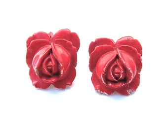Antique Earrings, Rose Bud Romantic Floral Shabby Chic Red Jewelry