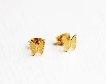 Tiny Yellow Butterfly Studs