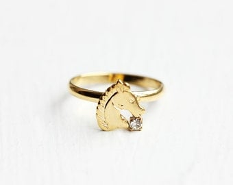 Gold Horse Ring, Horse Ring, Adjustable Gold Ring, Small Gold Ring, Horse Head Ring, Vintage Gold Ring, Vintage Horse Ring, Old Stock Ring