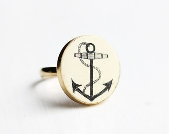 Anchor Button Ring, Anchor Ring, Scrimshaw Ring, Button Ring, Gold Anchor Ring