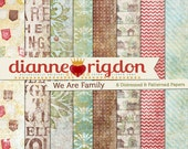 Shabby Distressed Family Tree Backgrounds - Instant Download-High Res-Digital - We Are Family