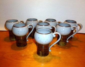 Set of 8, Mid Century Ceramic Mugs, Cups, Espresso, Retro, Eames