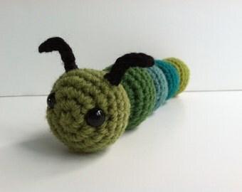 Amigurumi Crochet Caterpillar Plush Toy - Greens and Teals Kawaii Plush Caterpillar Nursery Decor Gift Under 25 Stuffed Animal Bug Plushie