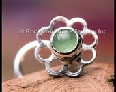 Flower Nose Stud - Kissed by the Dew - in Silver and Aventurine LIMITED EDITION - CUSTOMIZE