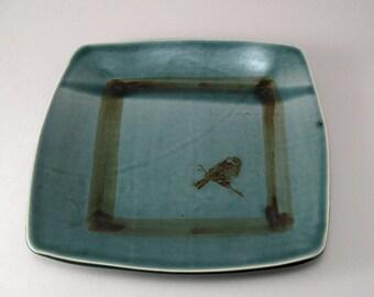 Square Serving Plate-Pottery Platter-Tableware-Ceramic Tray-Bird-Peacock Blue Green Glaze