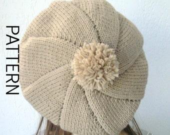 knitting pattern hat Instantdownload Knit Hat Pattern  Digital  Knitting PATTERN PDF Womens  Pompom hat Pattern  winter Fashion Accessories
