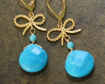 Blue Turquoise, Twisted Bow Gold Earrings, Summer Fashion, Quinceanera, Sweet 16, Birthday Gift for Wife, for Sister, Wedding Party, Summer