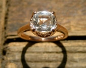 White Sapphire Engagement Ring in 14K Rose Gold with Diamonds & Scrolls Size 5
