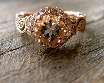 Vine Ring with Salmon Colored Morganite and Diamonds in Flowers & Leafs on Vine Setting in 14K Rose Gold Size 6