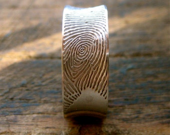 Concave Finger Print Wedding Ring in 14K White Gold with Text Engraving and Matte Finish Size 10