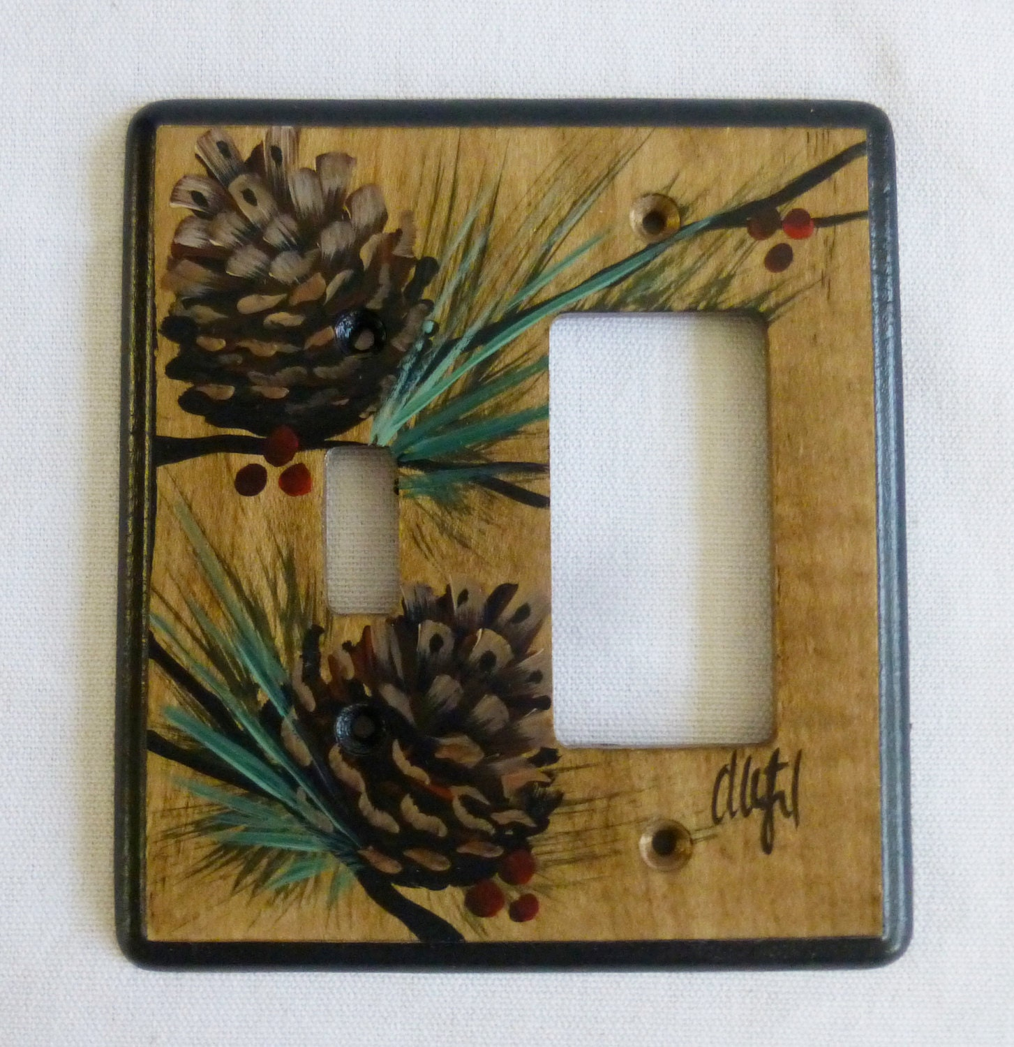 wood switch plate hand painted single switch gfi rocker