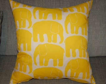 "Yellow Retro Elephant pillow case, cushion cover, 20x20"", 50x50cm  from Finland"