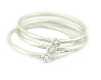Silver Ring,  Diamond Ring, .03ct Diamond Ring, Diamond Silver Ring, Bezel Set Diamond Ring, Set Of 3 Rings. Stacking Ring