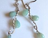Aqua Gemstone Earrings, Amazonite Chandelier Earrings in Sterling Silver, Waterfall Earrings