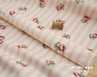 SALE Clearance 1 Yard Retro Shabby Chic Nordic Pink Rose Floral Stripe On Beige-Japanese Cotton Fabric (1 Yard)