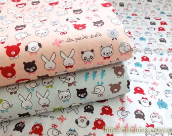 SALE Clearance Japanese Cotton Fabric-French Style Petit Animal Friends Heads, Choose Color (Fat Quarter)