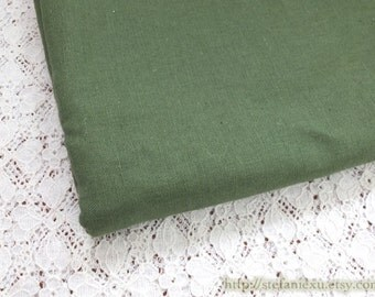 Solid Fabric, Simple Natural Retro Amy Green-Linen Cotton Blended Fabric(Fat Quarter)