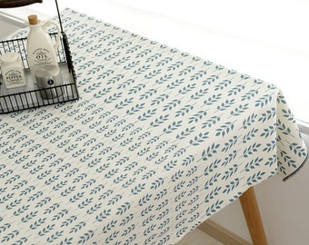 SALE CLEARANCE-1 Yard Home Decor Table Cloth Nordic Geometric Green Leaf Leaves-Linen Cotton Blended Fabric (1 Yard)