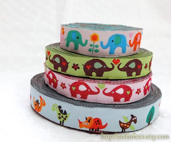 1 Yard Embroidery Sewing Ribbon/Trim - Cute Colorful Dinosaurs Multi Color Floral Heart Elephant