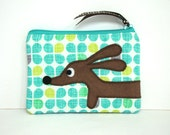 Dachshund Coin Purse - Doxie in the Retro Modern Garden - Dog Purse Womens Accessory Gift