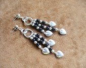 Vintage Sterling Silver Hearts and Black Beaded Dangle Earrings