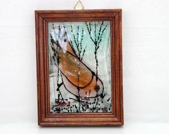 Bird Painting Fused Glass illustrations  Amber bird  landscape on glass