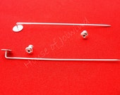 """20 Pieces 2 3/4"""" Stick PIns with 8mm Glue Pad anc Clutches for Adhering Flat back OBJECTS - Make a brooch EFFORTLESSLY"""