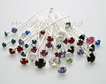 New 144 pc Assorted Colors Size SWAROVSKI CRYSTAL Silver -plated Brass Headpins