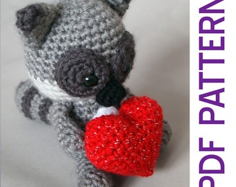 Amigurumi Crochet Romantic Raccoon Woodland Stuffed Animal Toy Pdf Pattern Valentine's Day