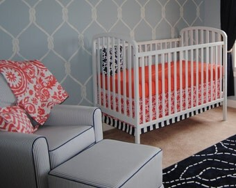 Baby Bedding - Coral and Navy Blue Baby Bedding Custom Crib Bedding - : Nautical, Chevron, Suzani, Shells