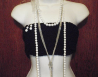 Vintage Body Jewelry Necklace White Beads With chain and Earrings for Young women