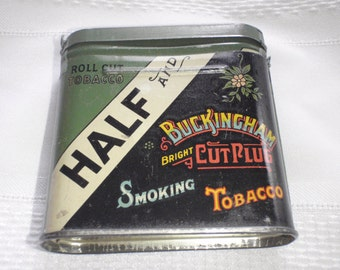Vintage Tin Can For Half and Half Tobacco Buckingham