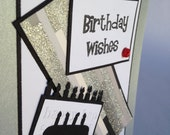 Handmade Stampin Up Birthday Wishes Blank Card: Black, White, Touch of Red