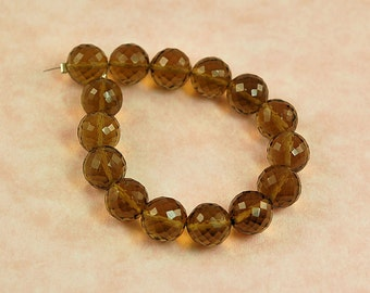 AAAA Whiskey Quartz Micro Faceted Round Beads - 8mm -71 tcw
