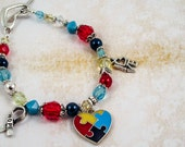 Autism Awareness Bracelet with Swarovski Crystals and Autism Charms - Hope, Love, Autism Puzzle Ribbon Charm - Handmade with Love! :-)