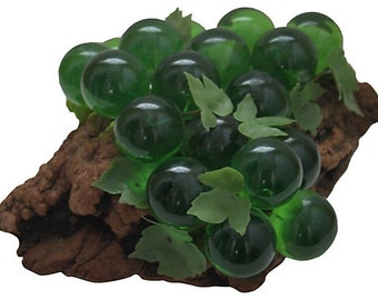 REDUCED 50% Vintage Oversized Midcentury / Mid Century / Modern Lucite Grapes on Driftwood / Cluster / Centerpiece