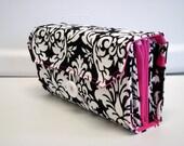 Cash Envelope Wallet  / Dave Ramsey System / Zipper Envelopes -Black and White Damask Hot Pink Lining
