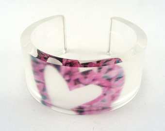 Heart Valentine bangle, pink flower and clear frosted acrylic