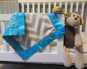 Minky Baby Security Blanket, Grey Chevron Minky Fabric, Turquoise Minky Fabric, Turquoise Satin Binding