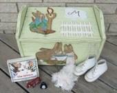BUNNY RABBIT Toy Box & Seat - Original Hand Painted Pine Keepsake