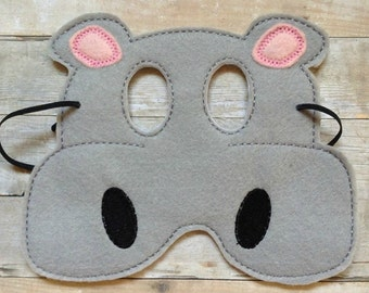 Children's Hippo  Felt Mask