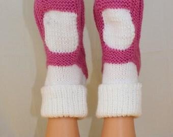 Instant Digital File pdf download Knitting pattern- Adult Chunky  Rib Cuff Sock Slippers pdf download knitting pattern