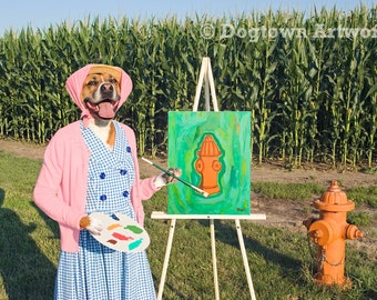 Still Life No. 1, large original photograph of boxer dog wearing clothes and painting her favorite subject, a fire hydrant